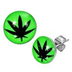 Boucles d'oreille clous acier inoxydable Vert Fluo feuille de cannabis