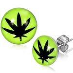 Boucles d'oreille clous acier inoxydable Jaune Fluofeuille de cannabis