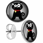 boucles-d-oreille-clous-acier-inoxydable-chat-noir-cartoon