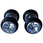Piercings Faux Écarteurs Plug caoutchouc noir cubic zirconia Transparent 8mm