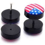 Piercings Faux Écarteurs Plug drapeau US 1