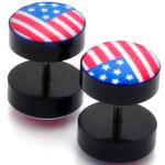 Piercings Faux Écarteurs Plug drapeau US