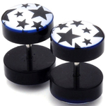 Piercings Faux Écarteurs Plug Étoiles noires