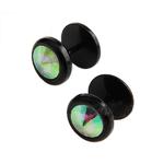 Piercings Faux Écarteurs Plug Noir Cubic Zirconia Coloré 5