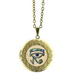 Collier Pendentif Médaillon bronze égypte oeil d'horus