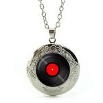 Collier Pendentif Médaillon disque vinyle noir et rouge