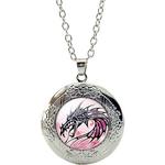 Collier Pendentif Médaillon Dragon Noir Stylisé