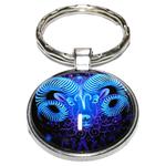 Porte Clé Métal Signe Astrologique Zodiaque Stylisé Bélier Bleu