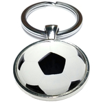 Porte clé métal football ballon de foot noir et blanc 2