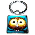 Porte clé carré en métal hibou chouette cartoon