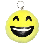 Porte clé pour sac en peluce smiley jaune mort de rire