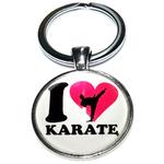 Porte clé métal I love karate fond blanc