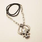 Collier pendentif skull corne démon 2