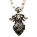 Collier pendentif acier loup et crâne