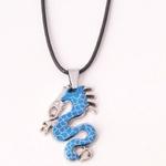 Collier Pendentif Acier Inoxydable Dragon Bleu Oeil CZ