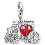 Charm Plaqué Argent Carosse de l'Amour Coeur Rouge