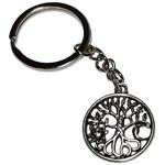 Porte clé métal arbre de vie soleil et lune stylisé