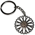 Porte clé métal fleur rosace