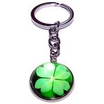 Porte clé métal trèfle à quatre feuilles vert