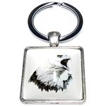 Porte clé carré métal aigle royal
