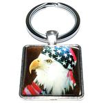 Porte clé carré métal aigle royal drapeau US