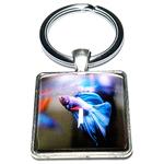 Porte clé carré métal poisson combatant