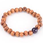 Bracelet en bois et pierre améthyste de synthèse 2
