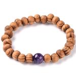 Bracelet en bois et pierre améthyste de synthèse 1