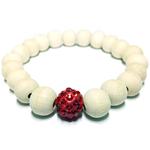 Bracelet en bois perle cubique zirconia rouge