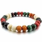 Bracelet bohème perles en bois blanc, marron, rouge et vert