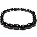 Bracelet perle bois colonne noir 6mm 2