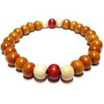 Bracelet Bois Perle Marron Blanc et Rouge 2