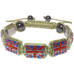Bracelet Shamballa Vintage Macramé Coton Beige Drapeau Royaume-Uni
