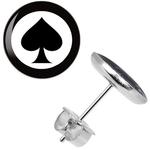 Boucle doreille clous as de pique carte de poker 2