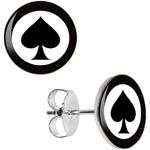 Boucle d'oreille clous as de pique carte de poker
