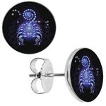 BOAI361 - Boucle d'oreille clous signe astologique zodiaque scorpion bleu