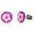 Boucles d'oreille clous acier inoxydable Rose Fleur Blanche
