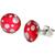 Boucles d'oreille clous acier inoxydable Rouge pois blanc 1