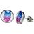 Boucles d'oreille clous acier inoxydable chouette bleu stylisé
