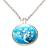 Collier pendentif métal bleu arbre de vie blanc fleurs