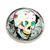 Broche métal tête de mort mexicaine oeil doré fleur bleue