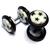 Piercings Faux Écarteurs Plug Blanc Etoiles Noires