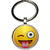 Porte clé en métal smiley taquin clin d'oeil tire langue