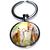 Porte clé en métal mère renard et son bébé