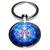 Porte clé en métal mandala rosace fleur bleu roi