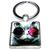 Porte clé carré métal chat avec des lunettes de soleil noire