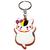 Porte clé plastique chat cartoon chapeau noir et jaune