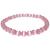 Bracelet pierre rose bande blanche 6mm