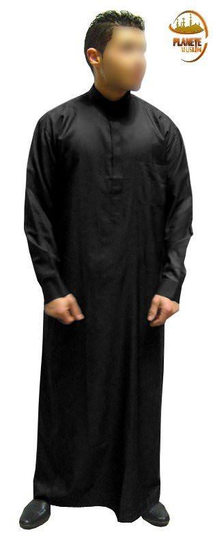 Qamis homme Al-Haramayn avec col et manches longues - Noir