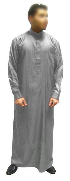 Qamis Al Haramayn avec col et manches longues - gris clair